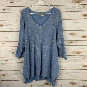 Soft Surroundings Size 1X Blue V Neck Gold Sweater